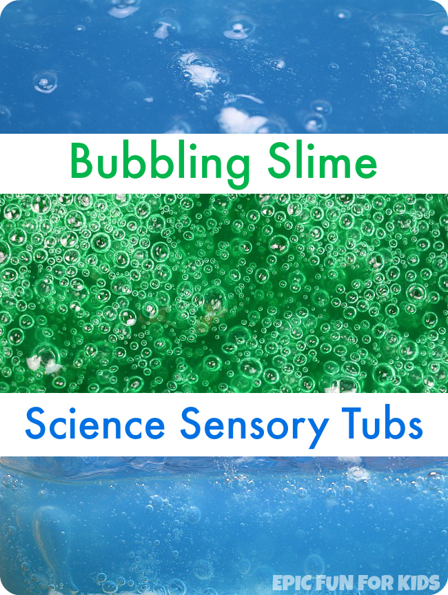 Make a bubbling slime science sensory tub that bubbles for hours and hours! Such a fun way to observe the baking soda and vinegar reaction at a slower pace.