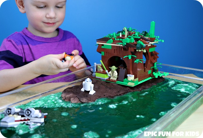 Yoda's Swamp Bubbling Slime Small World: a fun Lego Star Wars science activity that bubbles for hours and hours!