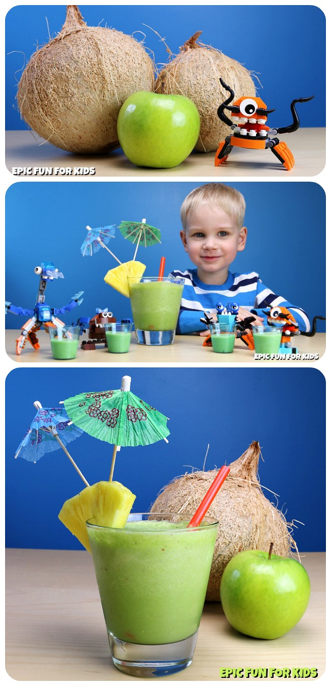 Coconapple Smoothies: yummy green smoothies for kids to help make, inspired by one of the mixed-up foods the Lego Mixels love!