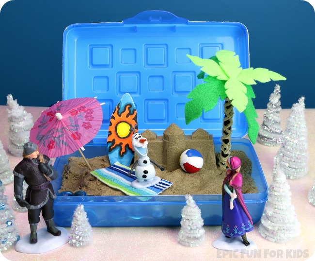 "Olaf's Summer Dream: a portable, two-level small world and sensory bin inspired by ""In Summer"" from Disney's FROZEN."