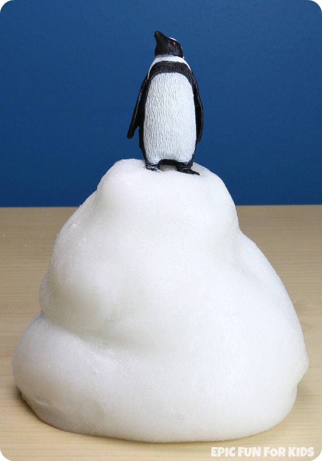 Super Strong Snow Slime Recipe: this snow slime has the coolest texture! Strong, stretchy, and almost puffy, it can be anything from an iceberg to a snowdrift to a skating rink!