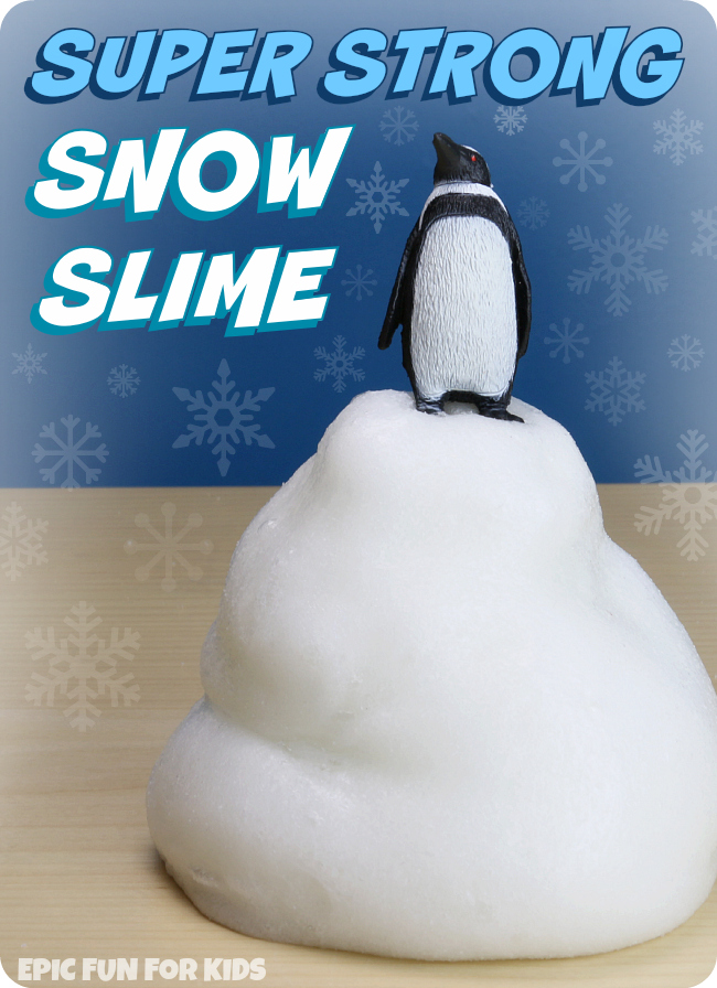Super Strong Snow Slime Recipe: this snow slime has the coolest texture! Strong, stretchy, and almost puffy, it holds its shape longer than you'd expect.